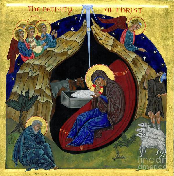 Icon Poster featuring the painting Icon Of The Nativity by Juliet Venter