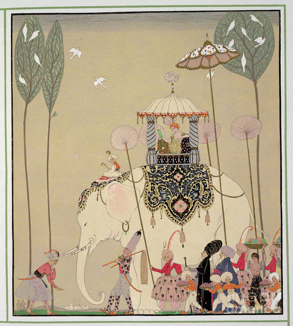 Elephant Poster featuring the painting Imperial Procession by Georges Barbier
