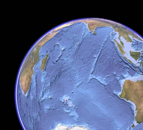 Indian Ocean Poster featuring the photograph Indian Ocean, Sea Floor Topography by Science Photo Library