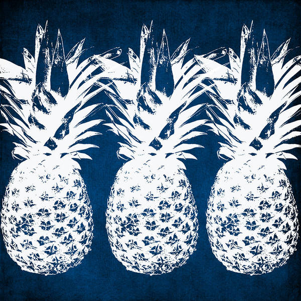 Indigo Poster featuring the painting Indigo and White Pineapples by Linda Woods