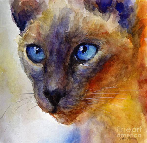 Siamese Cat Art Poster featuring the painting Intense Siamese Cat Painting Print 2 by Svetlana Novikova