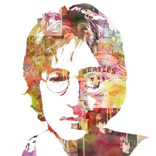 Beatles Poster featuring the painting John Lennon by Mike Maher