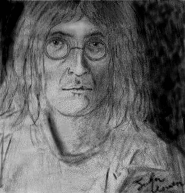 People Poster featuring the drawing John Lennon Number 9 by Rodger Larson