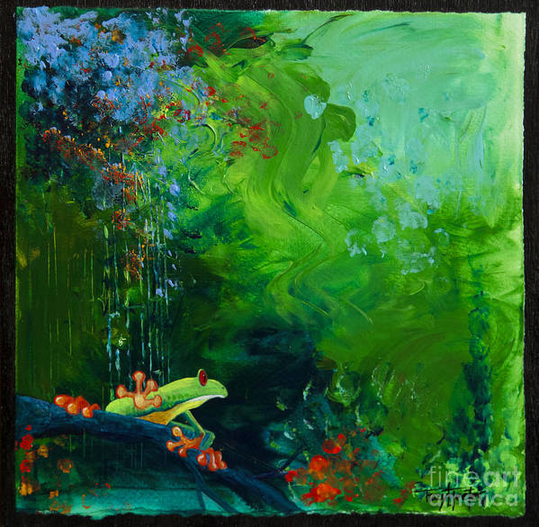 Tree Poster featuring the pastel Jungle Rains I by Tracy L Teeter