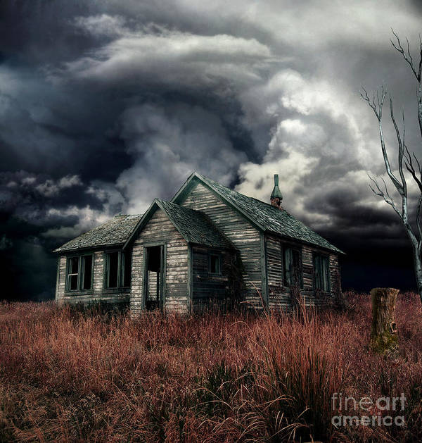 haunted House Poster featuring the digital art Just Before The Storm by Aimelle