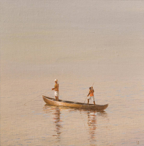 Fishing; Boat; Fisherman; Catching Fish; Working; Indian; India Poster featuring the painting Kerala Fishermen by Lincoln Seligman
