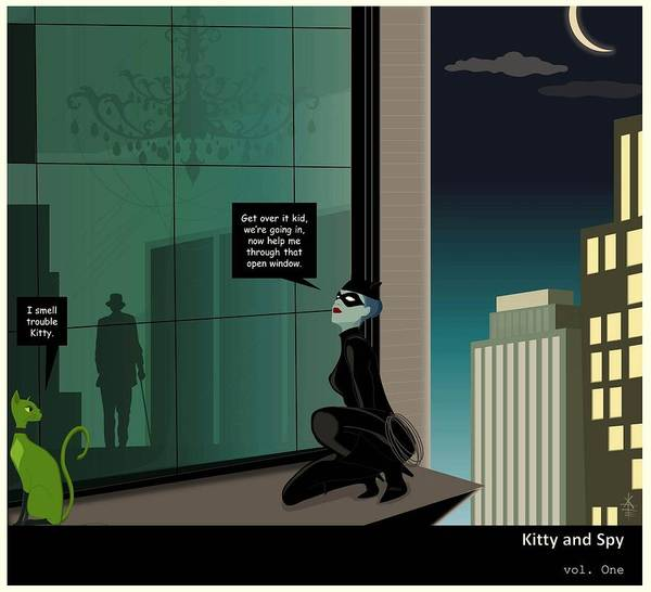 Kitty And Spy Poster featuring the drawing Kitty And Spy Panel 4 by Kate Paulos