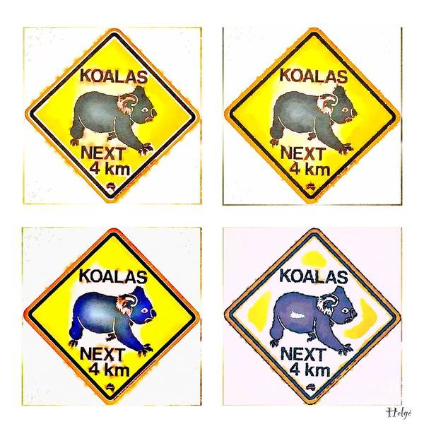 Koala Poster featuring the painting KOALAS Road Sign Pop Art by HELGE Art Gallery