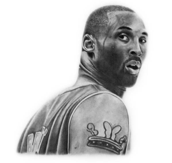 Kobe Poster featuring the drawing Kobe Bryant by Don Medina