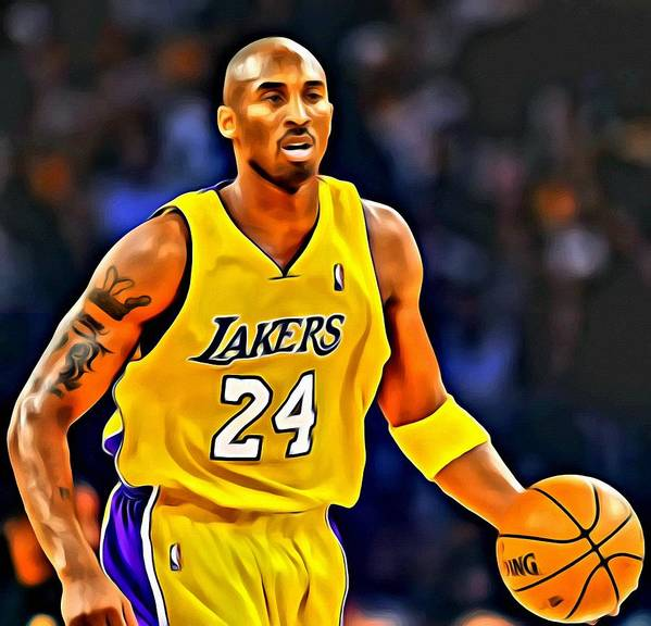 Kobe Poster featuring the painting Kobe Bryant Poster On Court by Florian Rodarte