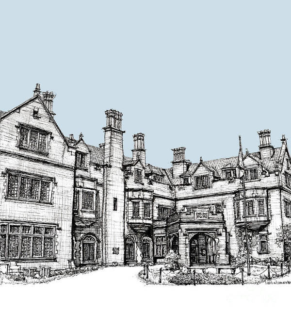 Blue Poster featuring the drawing Laurel Hall In Light Blue by Adendorff Design