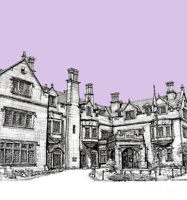 Lavender Poster featuring the drawing Laurel Hall In Lilac by Adendorff Design