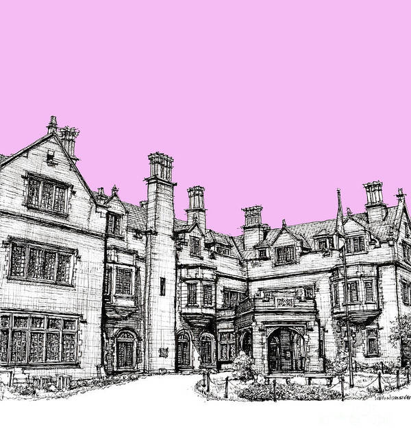 Pink Poster featuring the drawing Laurel Hall In Pink by Adendorff Design