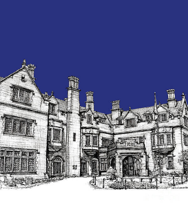 Royal Poster featuring the drawing Laurel Hall In Royal Blue by Adendorff Design