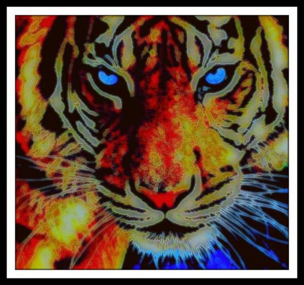 Big Cat Poster featuring the mixed media Le Tigre by Wendie Busig-Kohn
