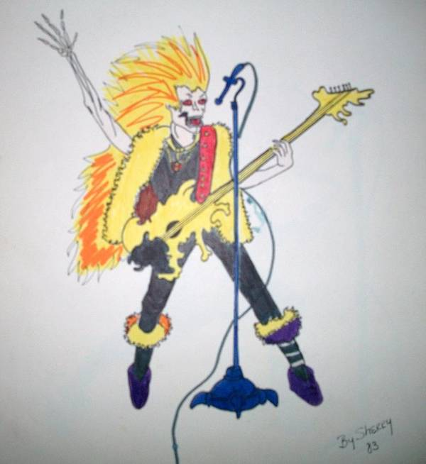 Skeleton Poster featuring the drawing Lead Singer by Sherry Cordle