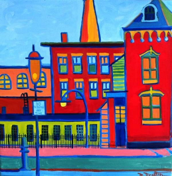 Landscape Poster featuring the painting Life Revolving in the City Lowell MA by Debra Bretton Robinson
