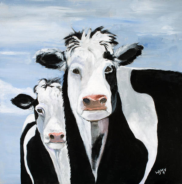 Cows Poster featuring the painting Like Mother Like Daughter by Wanda McVeigh