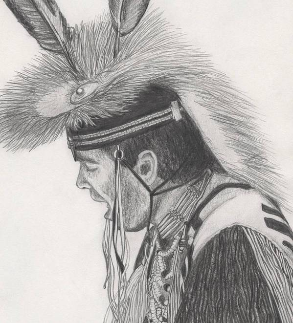 Indians Poster featuring the drawing Little Creek by Lew Davis
