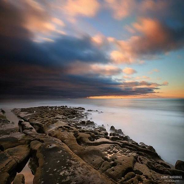 Poster featuring the photograph Long Exposure Sunset Of An Incoming by Larry Marshall
