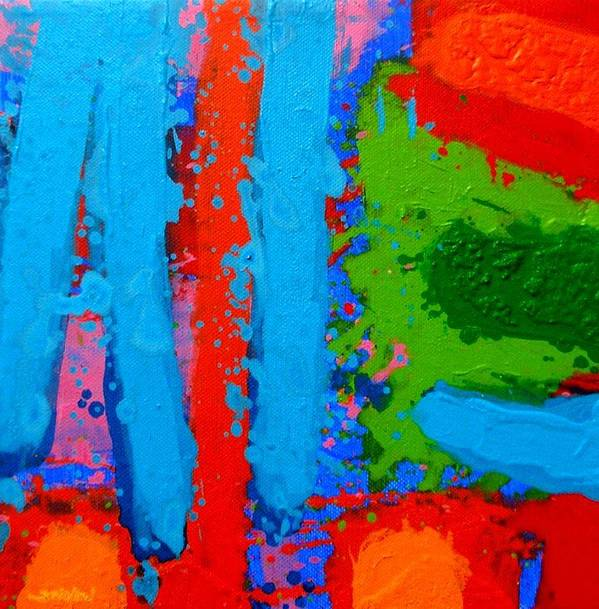 Abstract Poster featuring the painting Luminous Blues by John Nolan