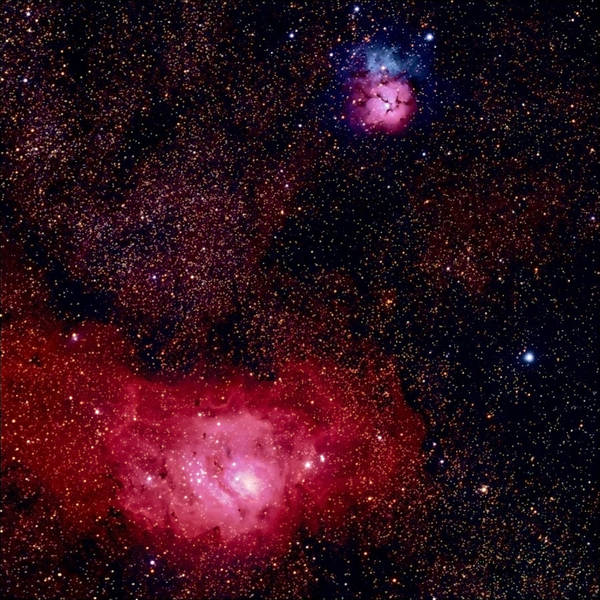 New Mexico Poster featuring the photograph M8 The Lagoon Nebula And M20 The Trifid by A. V. Ley