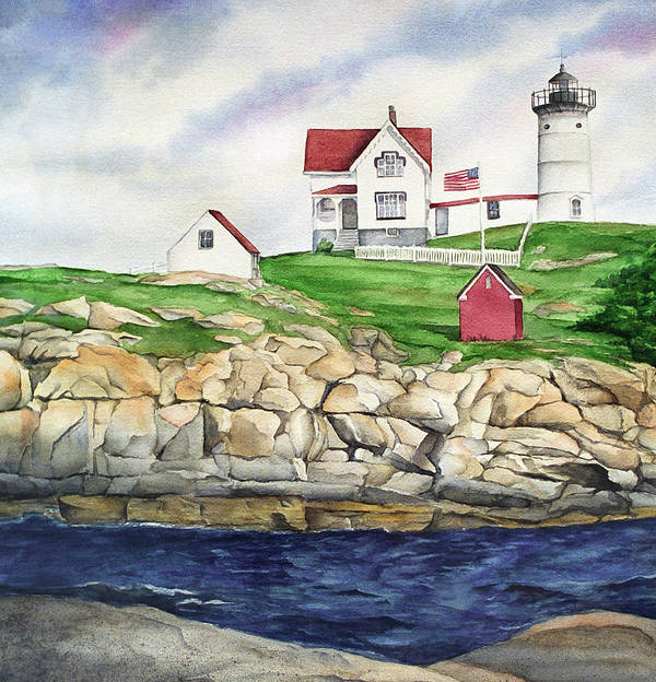 Maine Lighthouse Watercolor Painting Poster featuring the painting Maine Lighthouse Watercolor by Michelle Wiarda-Constantine