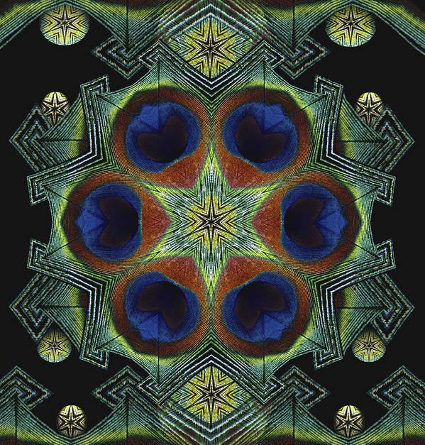 Mandala Poster featuring the digital art Mandala Peacock by Nancy Griswold