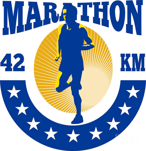 Marathon Poster featuring the digital art Marathon Runner Athlete Running by Aloysius Patrimonio