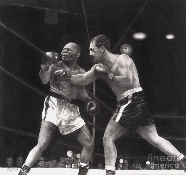 Sports Art Poster featuring the drawing Marciano Kayos Walcott by Noe Peralez