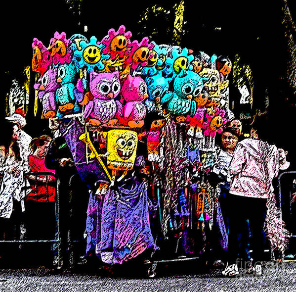 Digital Art Poster featuring the photograph Mardi Gras Vendor's Cart by Marian Bell