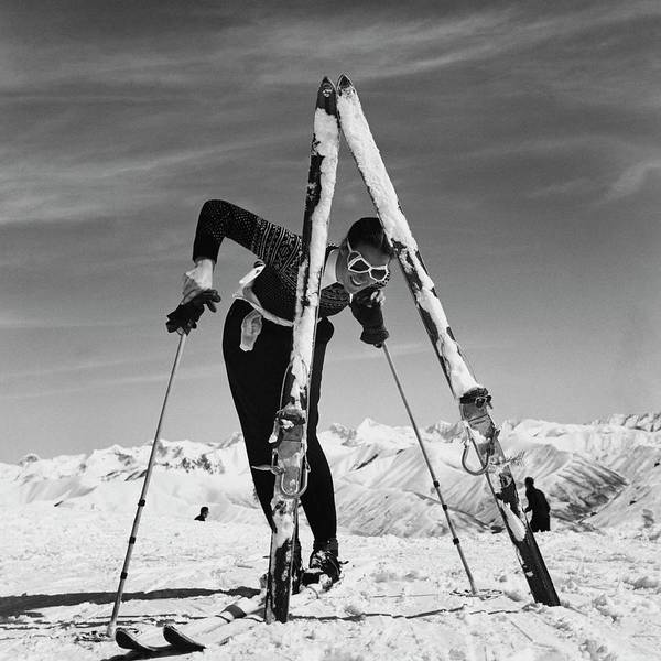 Beauty Poster featuring the photograph Marian Mckean With Skis by Toni Frissell