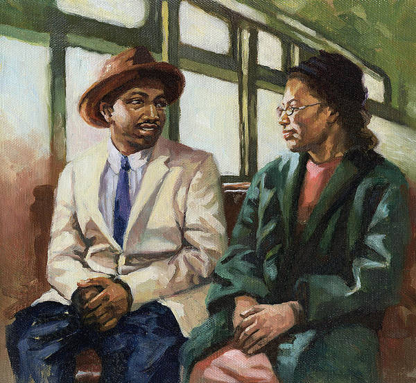 Civil Rights Poster featuring the painting Martin And Rosa Up Front by Colin Bootman