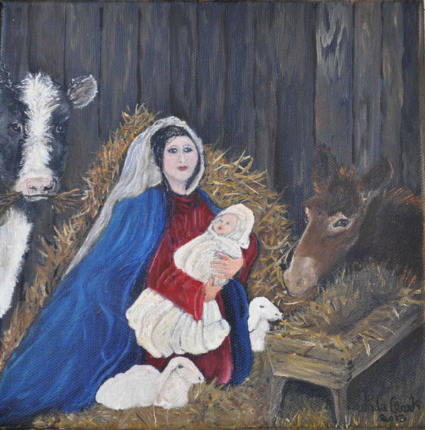 Oil Painting Poster featuring the painting Mary And Baby Jesus by Linda Clark