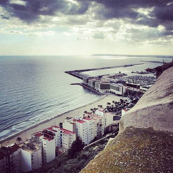 Lonely Poster featuring the photograph #mgmarts #spain #seaside #sea #view by Marianna Mills