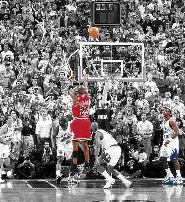 Michael Jordan Poster featuring the mixed media Michael Jordan Buzzer Beater by Brian Reaves