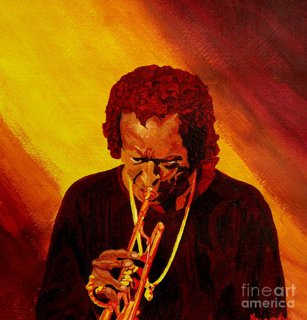 Miles Davis Poster featuring the painting Miles Davis Jazz Man by Anthony Dunphy