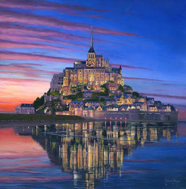 Architecture Art Poster featuring the painting Mont Saint-michel Soir by Richard Harpum