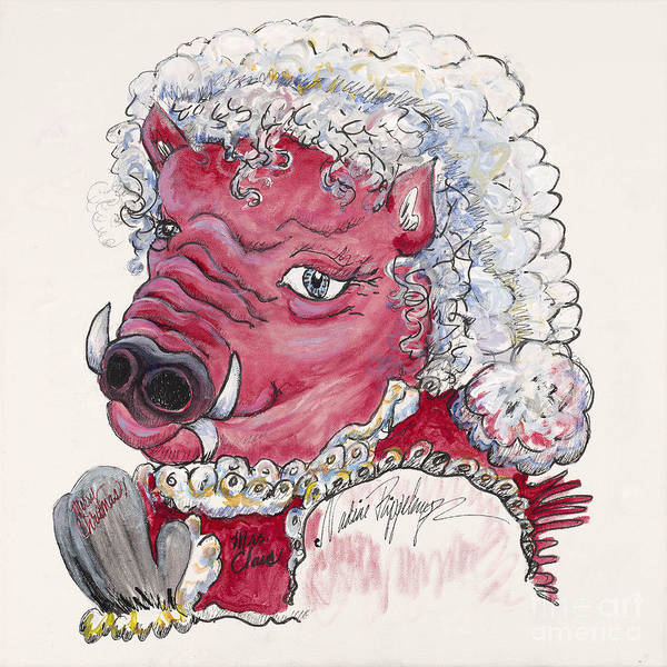 Mrs. Claus Poster featuring the painting Mrs. Claus Hog by Nadine Rippelmeyer