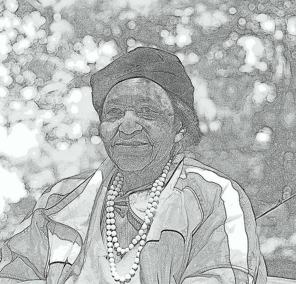 Black And White Portrait Digital Artwork Ms. Ida Senior Citizen Beautiful Lady Wise Worked Hard Young At Heart Going Fishing Life Aged Striped Jacket Pearls Lady Black Women Bokeh Oak Trees Ida Williams Portrait Grand Lady Black Lady Black Senior Citizen Wisdom Experience Life Experiences Funny Grand Dam Stories History Woodland Park Michigan Brookings Lake Detroit Southern Born Daughter Of Share Cropper Daughter Of A Farmer Hard Worker Poster featuring the photograph Ms. Ida by Rosemarie E Seppala
