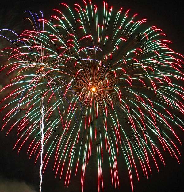 Fireworks Poster featuring the photograph 4th Of July Fireworks 16 by Howard Tenke