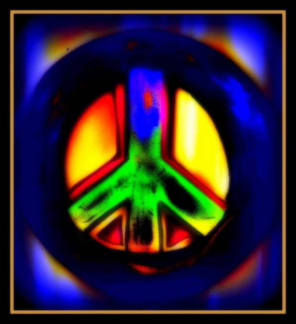 Peace Poster featuring the mixed media Neon Peace by Wendie Busig-Kohn