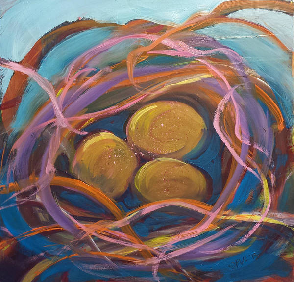 Eggs Poster featuring the painting Nest Of Prosperity 5.2 by Pam Van Londen