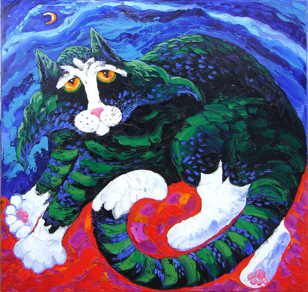 Isabelle Poster featuring the painting Night cat by Isabelle Gervais