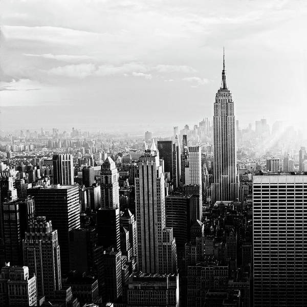 Lower Manhattan Poster featuring the photograph Nyc Skyline.black And White by Lisa-blue