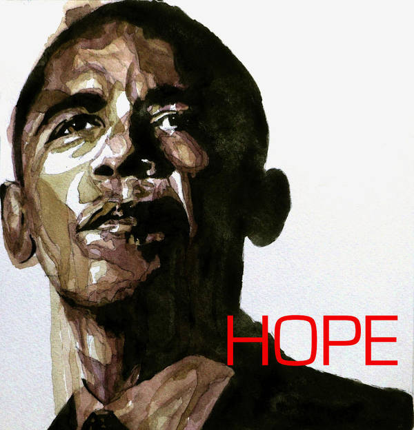 Barack Obama Poster featuring the painting Obama Hope by Paul Lovering
