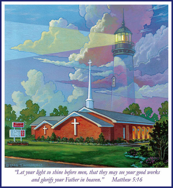 Landscape Poster featuring the painting Ocean View Baptist Church by Tom Wooldridge