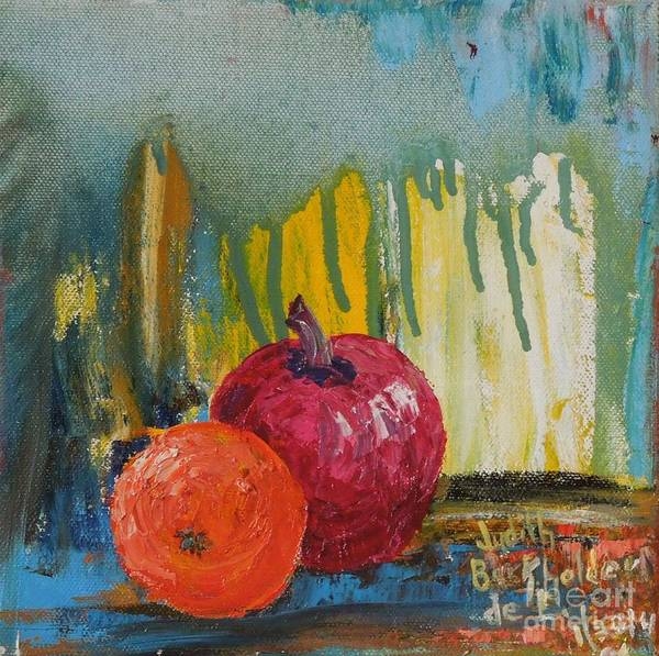 Fruit Poster featuring the painting Orange and Apple - SOLD by Judith Espinoza