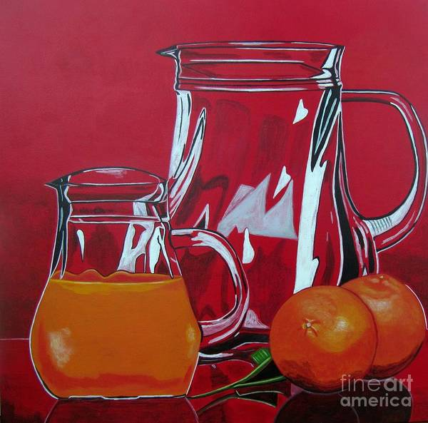 Food Poster featuring the painting Orange Juggle by Sandra Marie Adams