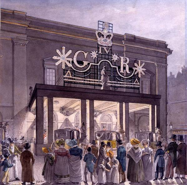 Theatre Royal Poster featuring the drawing Outside The Theatre Royal, Drury Lane by Robert Blemell Schnebbelie